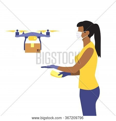 Vector Illustration Of Black Or Latin Woman In Protective Medical Mask And A Flying Drone Delivering
