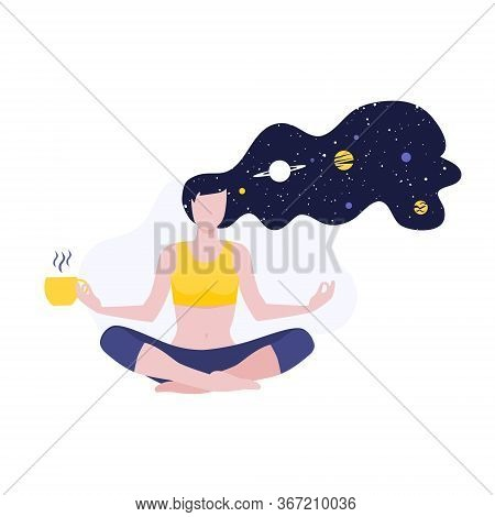 Vector Illustration Of Meditating Girl Or Woman Doing Yoga Class With Long Hairs And Cosmos And Plan