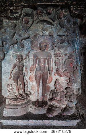 Relief Carvings At Kailasa Or Kailash Temple At The Ellora Caves In Maharashtra, India
