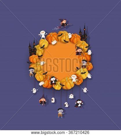 Halloween Wreath With Pumpkins, Bat, Witch, Vampire, Ghost, Zombie, Mummy, Castle. Halloween Festive