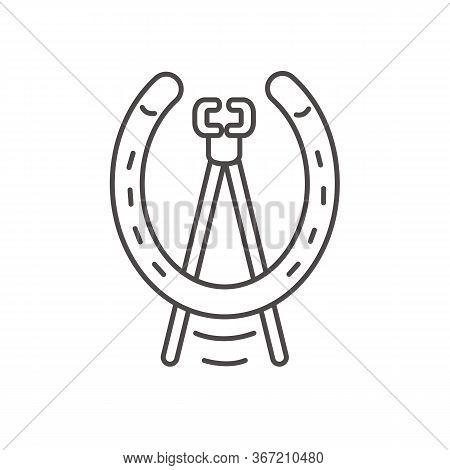 Horseshoe Icon And Nail Pulling Tool Of Blacksmith.