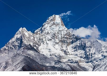 Ama Dablam Mountain Landscape In Everest Region In Himalaya, Nepal