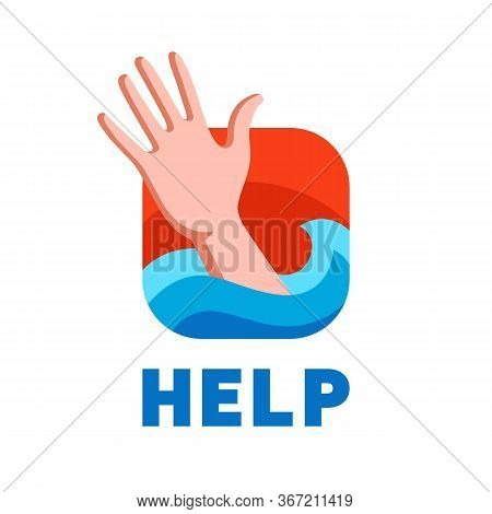 A Drowning Man Asks For Help. Flat Vector Illustration.