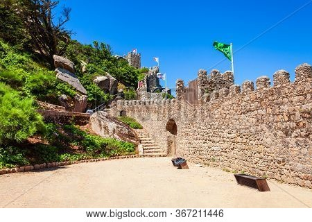 Castle Of The Moors Or Castelo Dos Mouros Is A Hilltop Medieval Castle In Sintra Town Near Lisbon, P