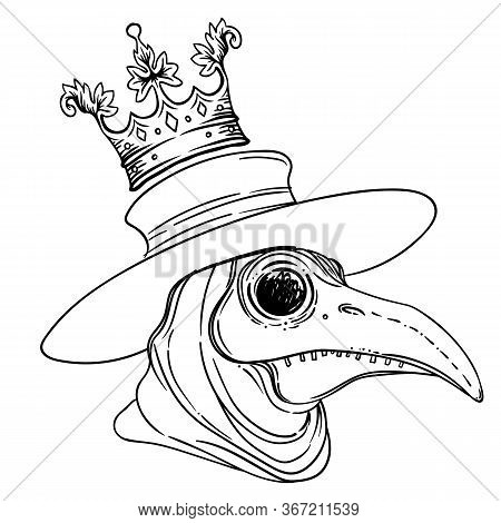 Vector Gothic Illustration Of Plague Doctor. Tattoo Art. Sketchy Style. Medieval Venetian Scary Bird