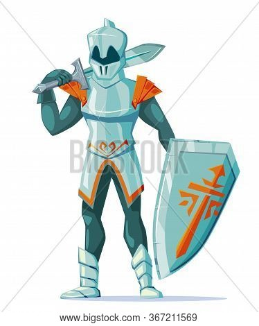 Medieval Knight Wearing Armor With Swords And Shield Stand Isolated On White Backdrop. Fairy Tale Ga