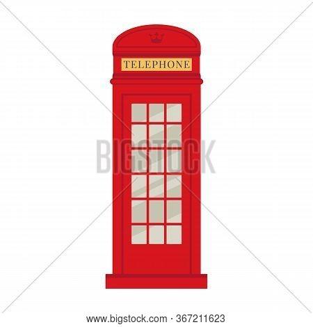 London Phone Booth. Red Historic British Telephone Box.