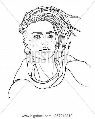 Portrait Of A Young Pretty Caucasian Woman With Short Pixie Cut. Vector Illustration Isolated. Hand