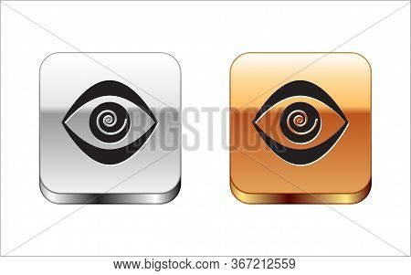 Black Hypnosis Icon Isolated On White Background. Human Eye With Spiral Hypnotic Iris. Silver-gold S
