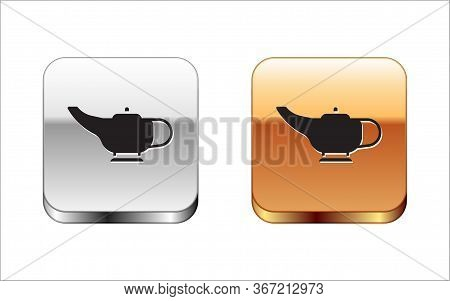 Black Magic Lamp Or Aladdin Lamp Icon Isolated On White Background. Spiritual Lamp For Wish. Silver-