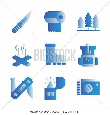 Camping Icon Set Including Knife,cam,survive,adventure,tissue,camp,trees,camping,fire,bonfire,shoes,