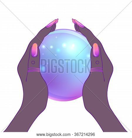 Female Hands Holding Magic Crystal Ball Isolated On White. Creepy Cute Vector Illustration. Gothic D