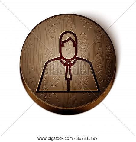 Brown Line Lawyer, Attorney, Jurist Icon Isolated On White Background. Jurisprudence, Law Or Court I