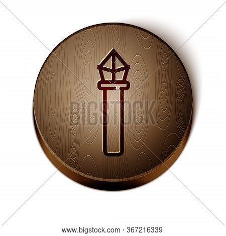 Brown Line Magic Staff Icon Isolated On White Background. Magic Wand, Scepter, Stick, Rod. Wooden Ci