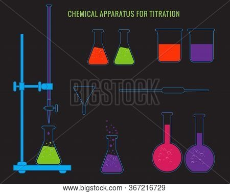 Vector Illustration Of Chemical Titration With Buratte, Pippet, Conical Flask On Black Background. B