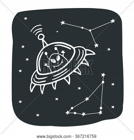 Flying Saucer. Alien In A Flying Saucer. Cosmos Illustration. Vector Illustration Of Space With Dood
