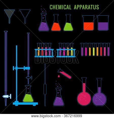 Chemical Apparatus For Chemistry Lab Experiments In School. Apparatus Conical Flask, Buratte, Pipett