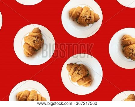 Pattern From Croissants Isolated On Red Background. Bakery Pattern With Baked Croissant. Fresh Crois