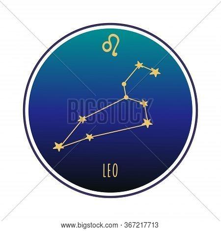 Leo Sign. Leo Zodiac Constellation. Vector Color Illustration. Leo Constellation And Sign