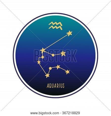 Aquarius. Zodiac Constellation Aquarius. Vector Color Illustration. Aquarius Constellation And Sign.