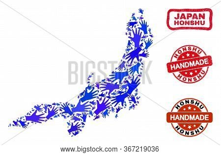 Vector Handmade Combination Of Honshu Island Map And Grunge Stamp Seals. Mosaic Honshu Island Map Is