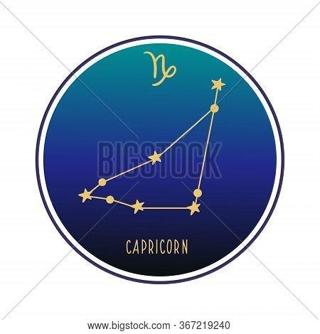 Capricorn. Zodiac Constellation Capricorn. Vector Color Illustration. Capricorn Constellation And Si