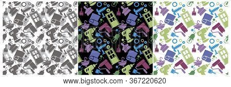 Seamless Pattern With Repair Activity Tools Icons. Carpentry Tools, Repair Tools, Construction. 3 Op