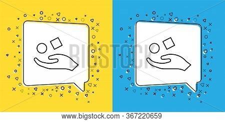 Set Line Cube Levitating Above Hand Icon Isolated On Yellow And Blue Background. Levitation Symbol.