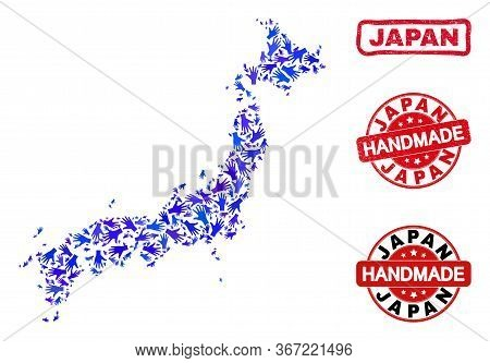Vector Handmade Collage Of Japan Map And Rubber Stamps. Mosaic Japan Map Is Created Of Scattered Blu