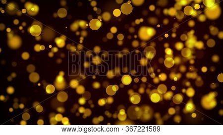 Glow Golden Particles. Sand Effect. 3d Rendering.