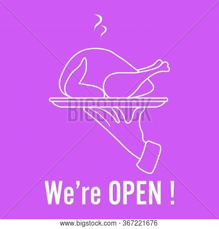 Vector Illustration Reopening Of Cafe, Restaurant After Covid-19 Quarantine, Coronavirus Pandemic. W