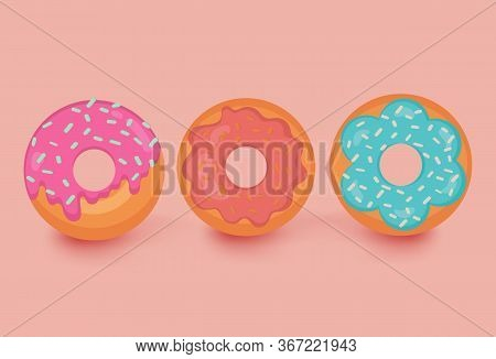 Set Of 3 Color Donuts In Modern Flat Style. Donut Set Isolated On Light Orange Background. Break Tim