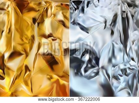 Silver Foil And Gold Foil. Shine Silver And Gold Texture. 3d Realistic Foil. Vector Illustration.