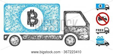 Mesh Bitcoin Delivery Lorry Web 2d Vector Illustration. Carcass Model Is Based On Bitcoin Delivery L