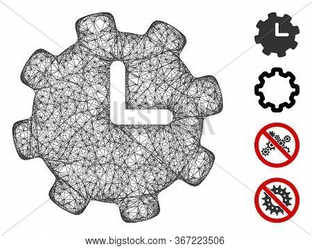 Mesh Time Settings Web Icon Vector Illustration. Carcass Model Is Based On Time Settings Flat Icon.