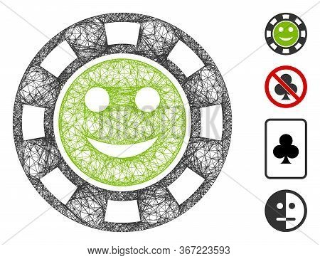Mesh Glad Casino Chip Web Icon Vector Illustration. Carcass Model Is Based On Glad Casino Chip Flat