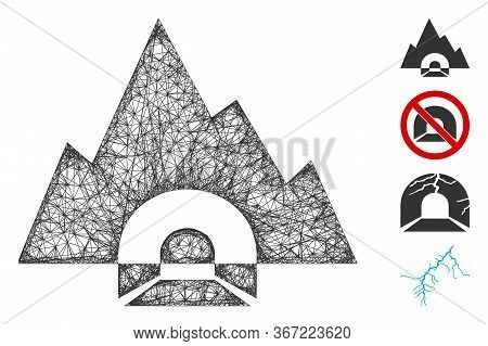 Mesh Mountain Tunnel Web 2d Vector Illustration. Carcass Model Is Created From Mountain Tunnel Flat