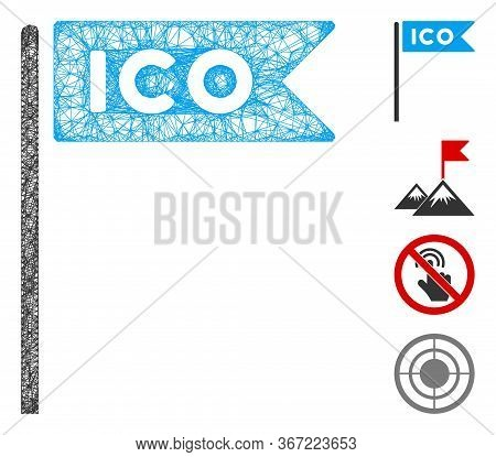 Mesh Ico Flag Web Icon Vector Illustration. Carcass Model Is Based On Ico Flag Flat Icon. Network Fo