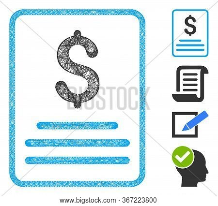 Mesh Invoice Web Symbol Vector Illustration. Carcass Model Is Based On Invoice Flat Icon. Mesh Forms