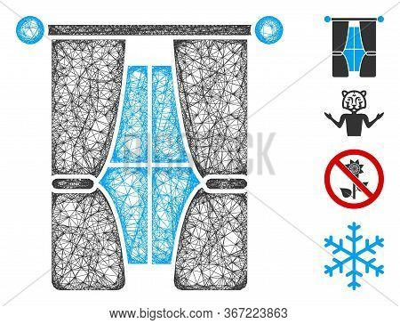 Mesh Interior Curtains Web Icon Vector Illustration. Model Is Based On Interior Curtains Flat Icon.