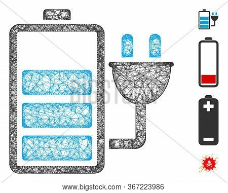 Mesh Charge Battery Web 2d Vector Illustration. Carcass Model Is Created From Charge Battery Flat Ic