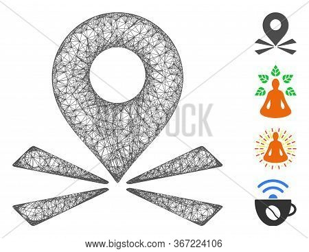 Mesh Marker Position Web Icon Vector Illustration. Carcass Model Is Created From Marker Position Fla