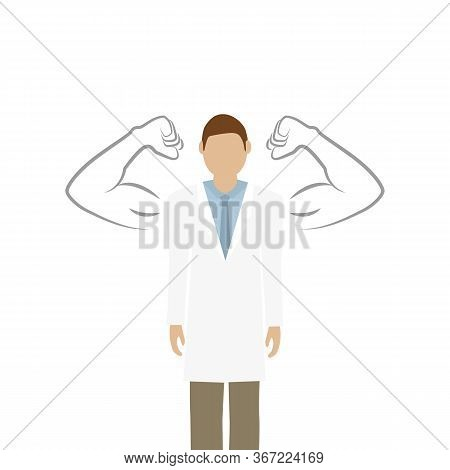 Male Doctor With Drawn Muscular Arms On White Background Vector Illustration Eps10