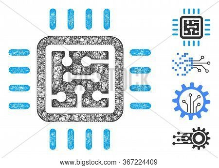 Mesh Cpu Circuit Web Icon Vector Illustration. Carcass Model Is Based On Cpu Circuit Flat Icon. Net