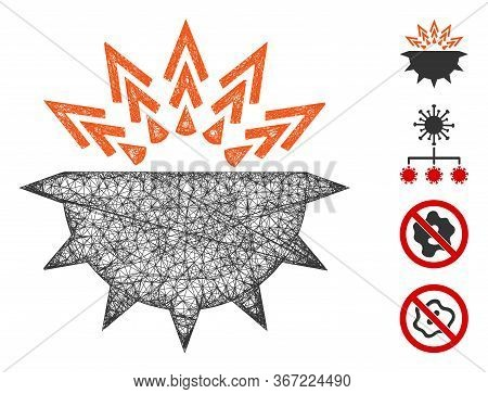 Mesh Viral Structure Web Icon Vector Illustration. Carcass Model Is Based On Viral Structure Flat Ic