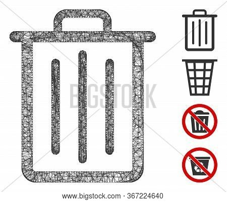 Mesh Trash Can Web Icon Vector Illustration. Model Is Based On Trash Can Flat Icon. Network Forms Ab