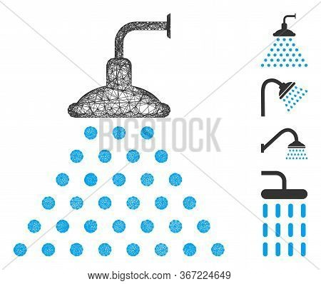 Mesh Shower Web Icon Vector Illustration. Carcass Model Is Based On Shower Flat Icon. Network Forms