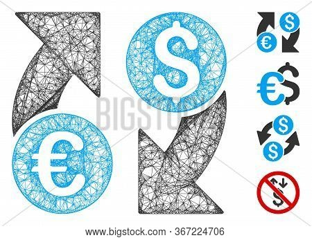 Mesh Currency Change Web 2d Vector Illustration. Carcass Model Is Based On Currency Change Flat Icon