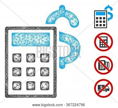 Mesh Business Calculator Web Icon Vector Illustration. Carcass Model Is Based On Business Calculator