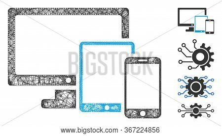 Mesh Electronic Devices Web Icon Vector Illustration. Abstraction Is Based On Electronic Devices Fla
